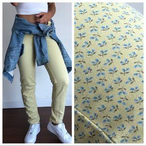 Vintage burberry high waist yellow floral jeans